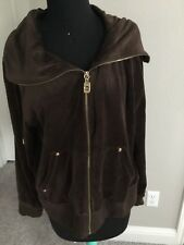 Michael Kors XL MK Logo Full Golden Zip Jacket Sweatshirt Brown Velvet