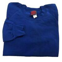 Vintage 80s 90s Crewneck Sweatshirt Blank Blue Adult XL Made In USA