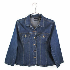 Womens XL Jean Jacket Trucker Denim Coat Dark Wash X Large Plus Size Bill Blass