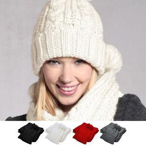 NEW Women Ladies Wooly Thick Winter Warm Knit Hat Scarf Set Knitted Woollen Hat