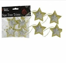 Star Designed Tree Trims Gold Boundary Silver Centred 6cm Christmas Decoration