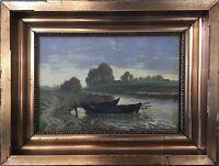 Naturalist Aage Gjödesen (1863-1939) Boat at Shore in Evening Light - Art