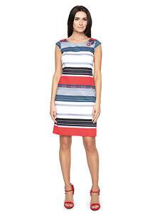 Elegantes Kleid Streifen Muster Cupärmeln Knielang Mehrfarbig Gr. 38 40 42 44