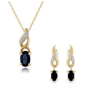 9ct Yellow Gold Sapphire & Diamond Oval Drop Earrings & 45cm Necklace Set