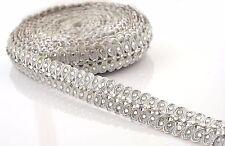 Hand Beaded Dress Bridal Border 9 YD Trim Ribbon Silver Craft Lace Zircons
