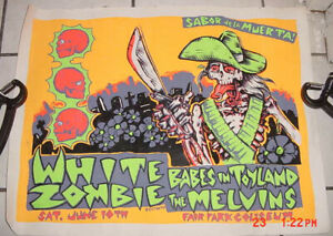 WHITE/ROB ZOMBIE/MELVINS/BABES IN TOYLAND BLACK LIGHT 1995 DALLAS TX POSTER
