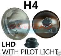 "7"" LHD FLAT LENS CLASSIC CAR HEADLAMP HEADLIGHT HALOGEN H4 CONVERSION WITH PILOT"