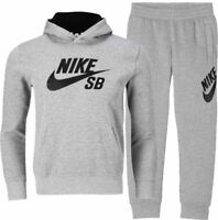 NIKE Kids SB Fleece Full Tracksuit Bottoms Joggers Hoodie Grey (977598-SB)