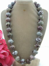 13x18mm Natural Jasper Rondelle&Crystal Necklace