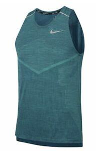 Nike Techknit Running Sleeveless Tank Top Men's Medium AJ7589-438 Green
