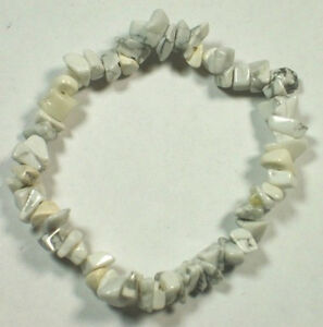 HOWLITE STRETCH BRACELET Stone Beads Chips Crystal Healing Chakra Reiki Wicca
