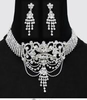 Clear White Silver Choker Crystal Rhinestone Necklace Jewelry Set Earring Prom