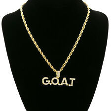 """14k Gold Plated Cz  G.O.A.T Pop Culture   Hip Hop Pendant 24"""" Rope Chain"""