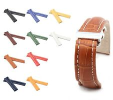 BOB Alligator Style Deployment Strap for Breitling, 20-24 mm, 10 colors, new!