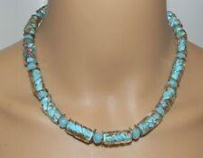 Halskette Perlen Glas Lampwork Murano Art Aqua pastell kupfer gold silber  202p