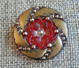 """Antique Vtg Lacy Glass Button Red & Gold ~Aprx:1-1/4""""~#014-A"""