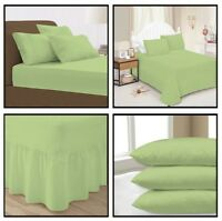 Sea Green Plain Dyed Fitted Flat Valance Bed Sheet Single Double King Pillowcase