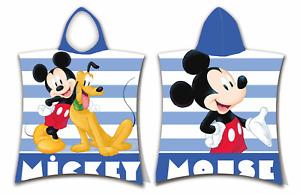 Disney Mickey Mouse and Pluto Stripe Kids Boys Girls Hooded Beach Towel Poncho