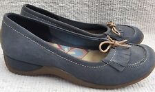 Women's Clarks Ballerina Shoes Light Blue Suede Leather Court Girls  Size 4.5