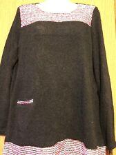 X Miss Brand Nylon Blend Black Knit/ Multicolor Woven LS Mini Dress/Tunic Top L