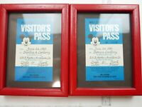 Lot of 2 x VTG Original 1983 WALT DISNEY Production VISITOR'S PASS in Frame