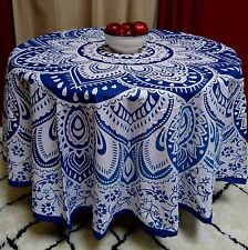 "Handmade 100% Cotton Blooming Floral 81"" Round Tablecloth Blue"