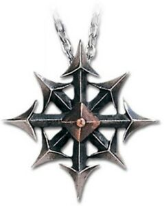 SteamPunk Victorian Alchemy Gothic Chaos Star Two Tone Pendant Necklace NEW