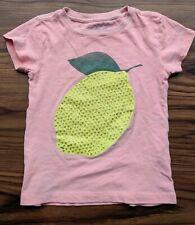 CUTE! EUC Girls 4-5 Pink Lemon Sequin JCrew Crewcuts Collectible Cotton T Shirt