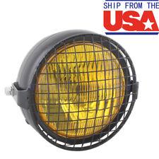 Universal Amber Motorcycle Headlight H4 Bulb Round Lamp Cruiser Custom Light US