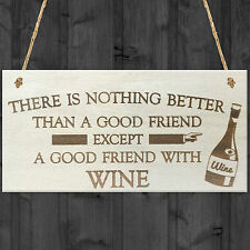 Good Friend With Wine Novelty Wooden Hanging Plaque Gift Best Friendship Sign