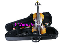 NEW SOLID Full Size 4/4 Acoustic Violin With Strap Case Bow Rosin Vintage Color
