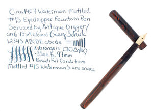 RARE C1901 WATERMAN MOTTLED 15 SIZE HARD RUBBER FOUNTAIN PEN NO RESERVE