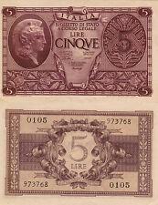 CINQUE LIRE ITALIA BIGLIETTO DI STATO A CORSO LEGALE D. MIN. 23 NOVEMBRE 1944