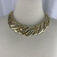 Chunky Gold Tone Link Collar Necklace Vintage 80s 90s Runway Style Shiny