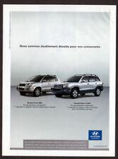 2005 HYUNDAI Tuscon and Santa Fe Original Print AD - Silver car photo canada
