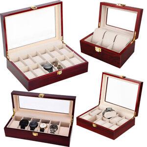 3/6/12 Watch Display Storage Box Jewelry Collection Case Organiser Holder Wooden