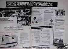 PUBLICITÉ 1978 CALOR FER A VAPEUR - VAISON-LA-ROMAINE - ADVERTISING