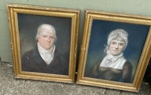 ANTIQUE Victorian pair of HUSBAND & WIFE PASTEL PORTRAITS framed married couple