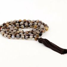 Faceted Agate Gem Tibet Buddhist 108 Prayer Beads Mala Necklace With Knot