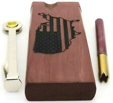 USA MAP FLAG Purpleheart Dugout w Poker, Digger Brass One Hitter Pipe Stash Box