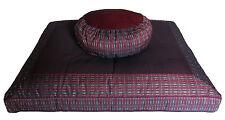 Meditation Cushion Set Zafu & Zabuton - Global Weave - Burgundy/Gray