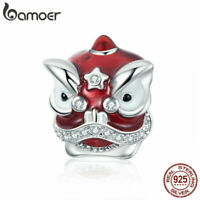 BAMOER Women 925 Sterling silver CZ charm Enamel Lion Dance Fit Bracelet Jewelry