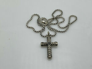 "David Yurman Chevron Sculpted Cross Pendant with Pave Black Diamonds & 22"" Chain"