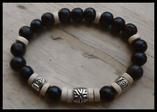 Mens Womens Surfer Tribal Native Friendship Natural Wood Bracelet Wristband