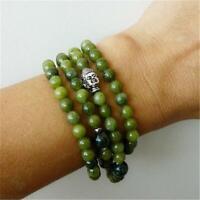 6mm Green Jade Silver Buddha 108 Beads Necklace Wrist Meditation Cuff Bracelet