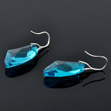 Hot Aqua Blue Crystal Drop Silver Genuine Earrings made with fashion Elementsnew