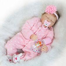Full Body Silicone Reborn Dolls Lifelike Baby Girl Newborn Doll Gifts 22'' F9E5M
