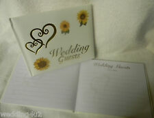 Wedding Party Ceremony Gold Hearts Guest Book Summer Sunflower