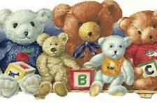 Wallpaper Border Teddy Bears Stuffed Animals ABC Blocks on Shelf Blue Red Yellow
