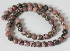 "8 MM Rhondonite Round Semi precious Gemstone Beads 16"" Strand /  1.2 MM Hole"